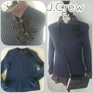 J.Crew ribbed sweater with sparkly frog closures